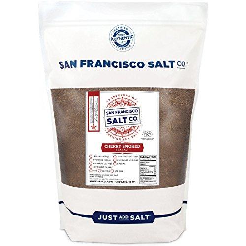 Cherrywood Smoked Sea Salt (2lb Bag - Fine Grain) by San Francisco Salt Company (Fine Cherry)