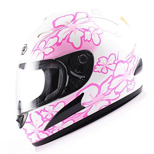 WOW Motorcycle Street Bike Full Face Helmet Pink Flower White -