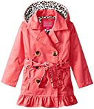 Pink Platinum Little Girls' Double Breasted Leopard Lined Twill Trench Jacket, Red, 4T