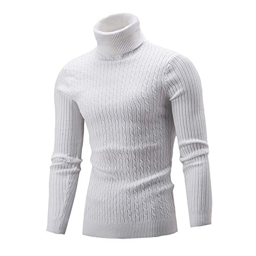 clearance sale!!ZEFOTIM Winter Men Slim Warm Knit High Neck Pullover Jumper Sweater Turtleneck Top WH/L(Large,White) ()