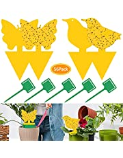 56Pcs Sticky Traps,Dual-Sided Sticky Fruit Fly Traps and Gnat Traps Yellow Sticky Bug Traps for Indoor/Outdoor Use,Insect Catcher for White Flies, Mosquitos, Fungus Gnats, Flying Insects