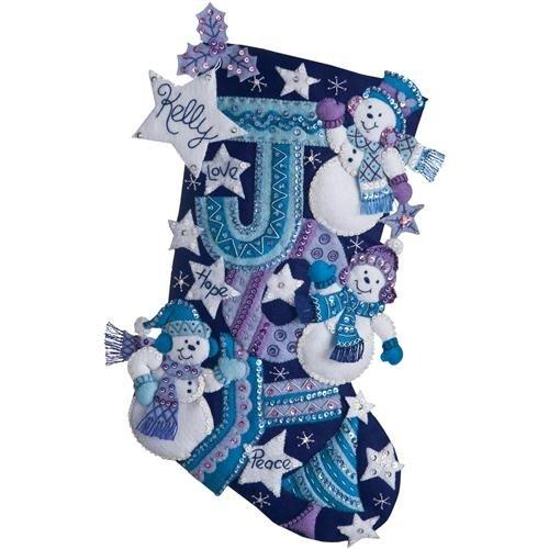 Bucilla 18-Inch Christmas Stocking Felt Applique Kit, 86328 Joy Snowmen Plaid Inc