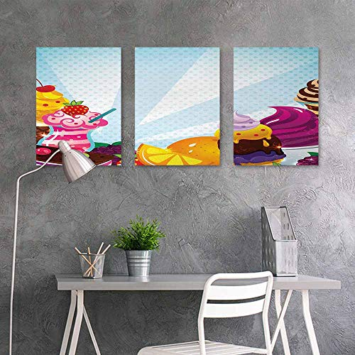 (BE.SUN Oil Painting Modern Wall Art Posters,Ice Cream,Yummy Menu with Chocolate Raspberry Cherry Orange and Strawberry Flavors Image,Modern Decorative Artwork 3 Panels,24x35inchx3pcs,Multicolor)