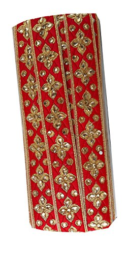 9 yard lace saree border trim applique Red Brocade fabric Gold Embroidered, Stone (Borders Red Fabric)