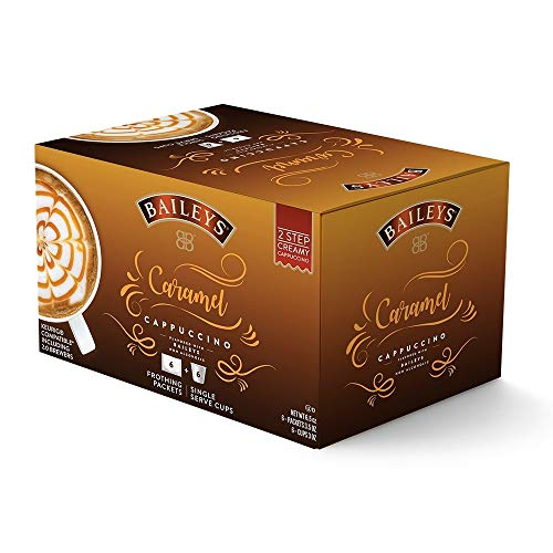 Baileys Caramel Cappuccino Single Serve Cups + Frothing Packets 6 Ct Each (Pack of 2) ()