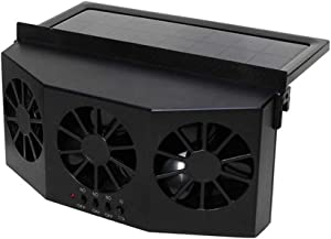 Denpetec Solar Car Cooler,Auto Air Vent Cool 3-Fan Cooler Car Fan Ventilation System Radiator Vehicle Fan Solar Powered Car Exhaust Fan for Trucks or Car