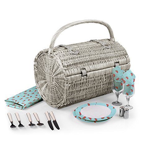 Watermelon Picnic Basket - PICNIC TIME 'Barrel' Picnic Basket with Service for Two, Watermelon Collection