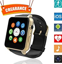 Martheroll GT-88 Smart Watch Bluetooth NFC Connectivity Sports Watch with Heart Rate Monitor,Touch Screen and Magnetic Charging for Android IOS Samsung Iphone (Gold)