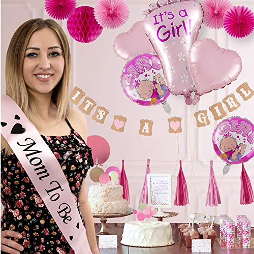Baby Shower Decorations for Girl, Its a Girl All in One Set Party Garland Supplies Kit for Birthday, BabyShower & Party Favors, Incl Banners, Balloons, Paper Fans, Tassels, Greeting Cards, 31 PCS -