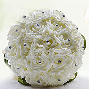 S-SSOY Handmade 18pcs Artifical Flower Cream White Roses with Delicate Rhinestones Wedding Flowers Bride Bridesmaid Wedding Bouquet 115