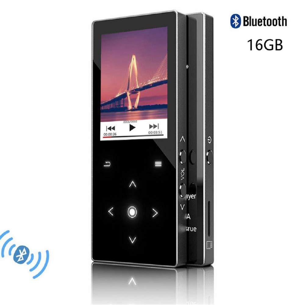 CFZC - Reproductor de MP3 con Bluetooth, reproductor de música de 16 GB con altavoz, reproductor de MP4 de metal sin pérdidas, con radio FM y ranura para tarjeta micro SD de 64 GB