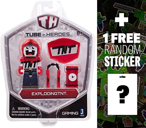 ExplodingTNT: Tube Heroes Mini Action Figure Series + 1 FREE Official Minecraft Mini-Sticker Sheet Bundle