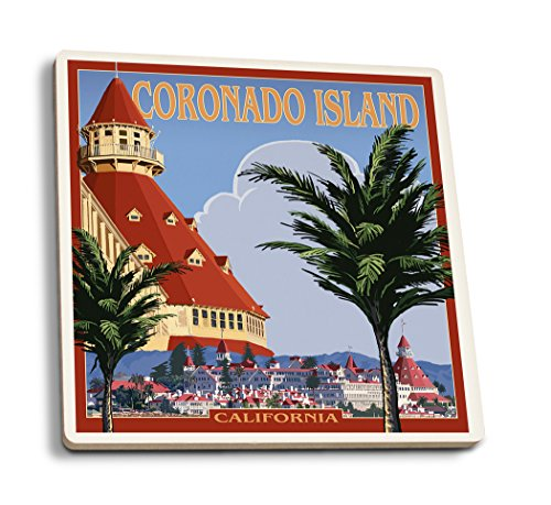 Lantern Press Coronado Island, California - Hotel Del Coronado (Set of 4 Ceramic Coasters - Cork-Backed, Absorbent)