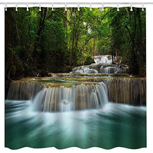 BROSHAN Summer Nature Shower Curtain,Waterfall in Deep Forest in National Park in Thailand Natural Scenery Art Print Bath Curtain,Polyester Waterproof Fabric Bathroom Decor Set with Hooks,72x72 Inch