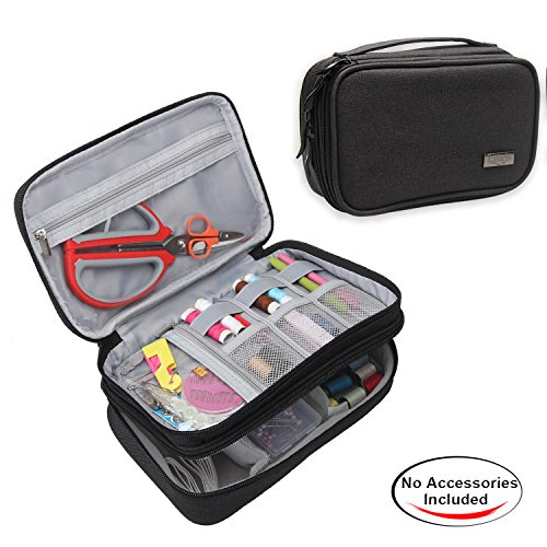 Luxja Sewing Accessories Organizer, Double-Layer Sewing Supplies Organizer for Needles, Scissors, Measuring Tape, Thread and Other Sewing Tools ( NO ACCESSORIES INCLUDED), Large/Black by LUXJA