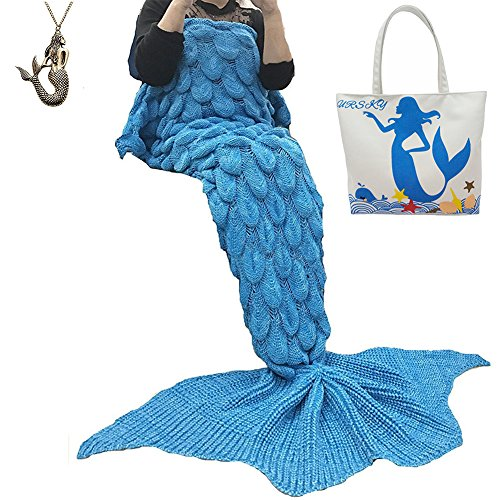 College Diy Halloween Costumes (URSKY Crochet Knitted Sofa Living Room Mermaid Tail Blanket, Cozy and Soft All Season Mermaid Tail Pattern Throw Sleeping Bag For Adult, Teens and Child (Scale Fancy Tail Azure))