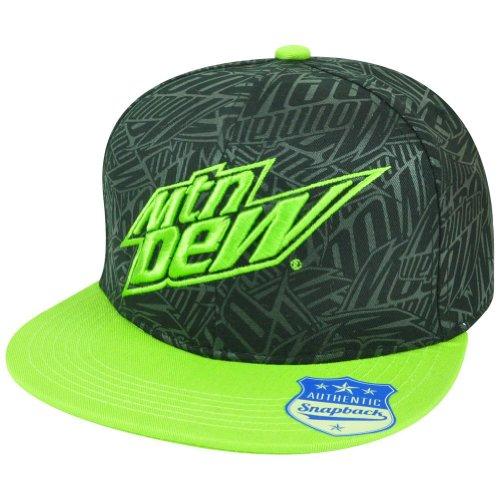 mtn-mountain-dew-flat-bill-snapback-green-fountain-drink-hat-cap-soda-beverage