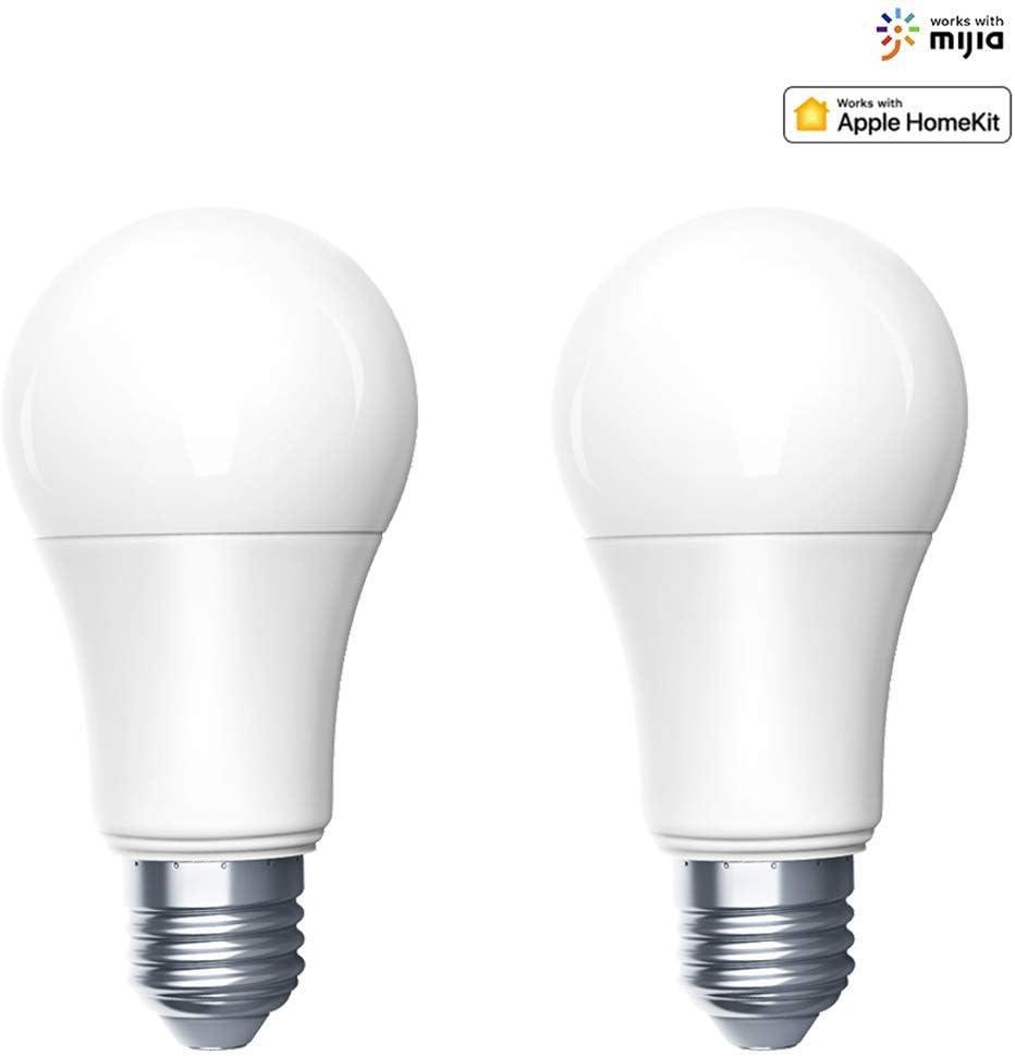 Aqara Zigbee Smart LED Bombilla ajustable brillo y temperatura de color lámpara inteligente Siri Voice Control funciona con para Mijia APP y para Apple HomeKit [Clase de eficiencia energética A]