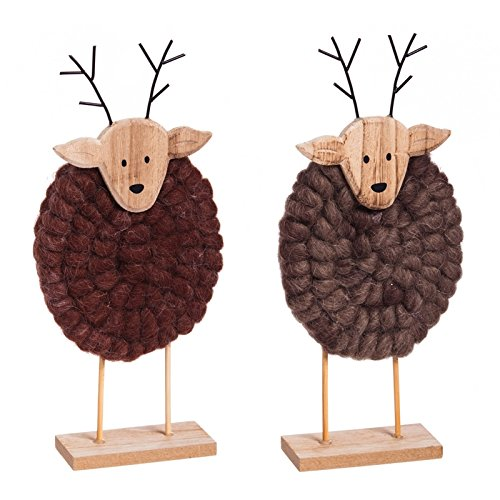 Cypress Home Holiday Table Wooden and Yarn Deer Decorations, Set of 2