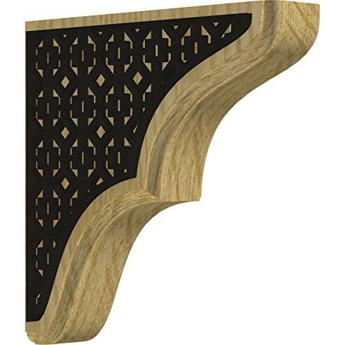 (Ekena Millwork BKTW02X08X08STVIBLRO Stratford Wood Bracket with IronCraft Victorian Inlay 1 3/4