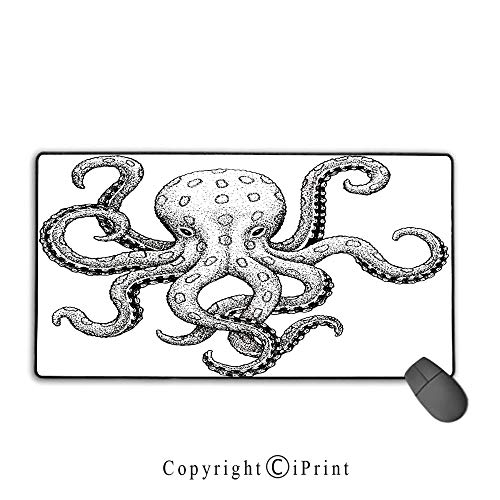 Extended Mousepad with Durable Stitched Edges,Octopus Decor,Sketch Style Print of Deadly Blue Ringed Octopus Camouflage Marine Animal Aquatic Decor,Ecru Black,Premium Textured Fabric, Non-Slip Rubber