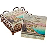 Thirstystone 4-Piece Coaster Set with Holder Included Italian Inspirations Bottled Poetry