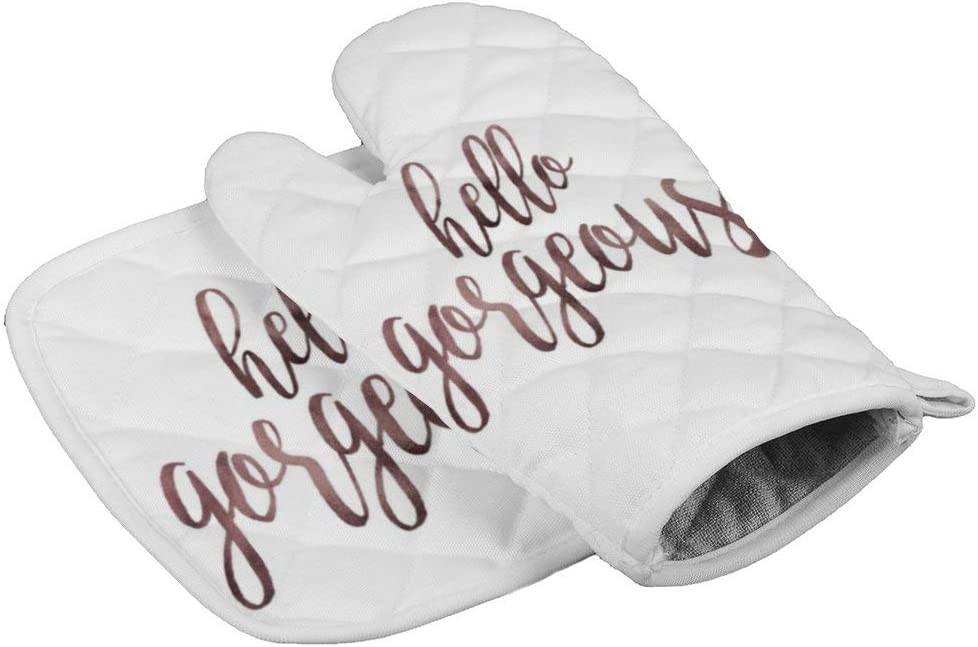 Hello Gorgeous Rose Gold (2) Oven Gloves Microwave Gloves Barbecue Gloves Kitchen Cooking Bake Heat Resistant Gloves Combination
