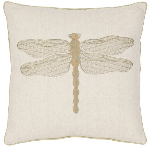 Safavieh Pillow Collection Regal Dragonfly 18-Inch Cream and Green Embroidered Decorative Pillows, Set of 2 ()