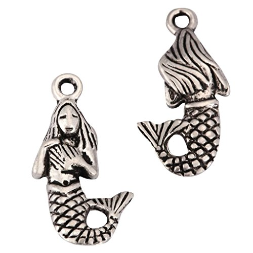 20 x Mermaid Charms 20x12mm Antique Silver Tone for Bracelets Necklaces Earrings #mcz1211