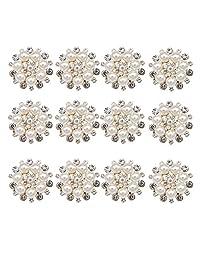 eGlomart Crystal Flower Brooches, Rhinestone Ivory Simulated Pearl Silver-Tone Pins (RoseGoldx12)