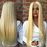Full Lace Human Hair Wigs Pure Color #613 Blonde Remy Virgin Straight Hair African American Wig for Black Women (24'', full lace wig)