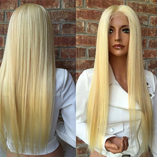 Full Lace Human Hair Wigs Pure Color #613 Blonde Remy Virgin Straight Hair African American Wig for Black Women (16'', lace frontal wig) by Fantasty Hair