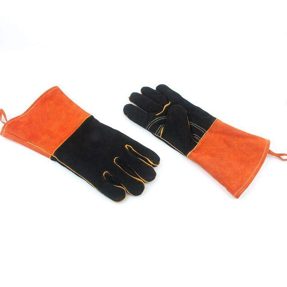 IRVING Outdoor BBQ gloves camping fire barbecue high temperature insulation thickening long welding protective gloves leather by IRVING (Image #4)