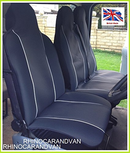 Amazon.es: Iveco turbo Daily Classic 96 - 01 - Van fundas de asiento individual del conductor y asiento doble de pasajeros, color negro y ribetes blancos