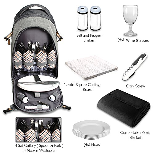 Scuddles 4 Person Picnic Backpack - With SOLID Stainless Steel Utensils, Oversized Water Resistant Fleece Blanket, Cooler Compartment, Holders Wine Bottles in a Modern Designed Backpack (Set Picnic Bag)
