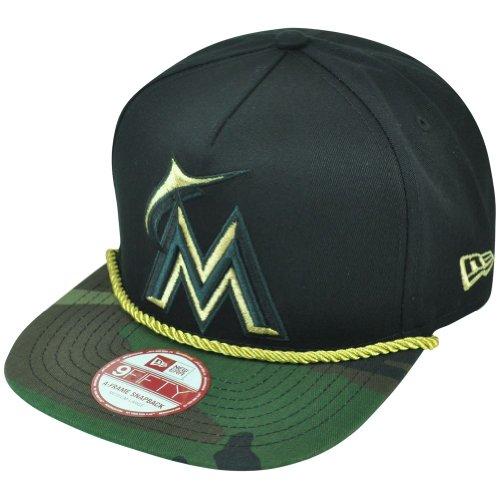 New Era Miami Marlins 9FIFTY A-Frame Hidden Metallic Snapback Wood Camo Hat Cap