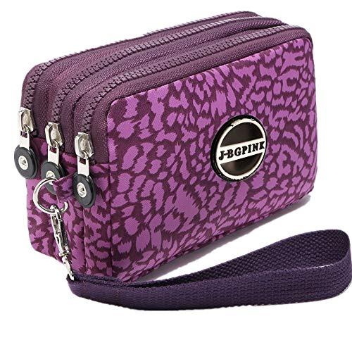 Small Waterproof Cell Phone - Three Layer Zipper Purse Waterproof Nylon Wallet Handbag Cell Phone Pouch Coin Purse (purple leopard)