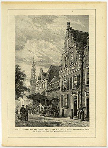 Antique Print-CHEESE MARKET-EDAM-THE NETHERLANDS-Springer-1884