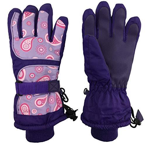 N'Ice Caps Kids Scroll Print Waterproof Thinsulate Insulated Winter Snow Gloves (3-4 Years, Purple/Print)