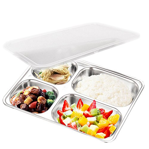 (AIYoo 304 Stainless Steel Divided Plate with Lid for Toddler Kids Bento Lunch Box - BPA free 4 Compartment Camping Food Container)