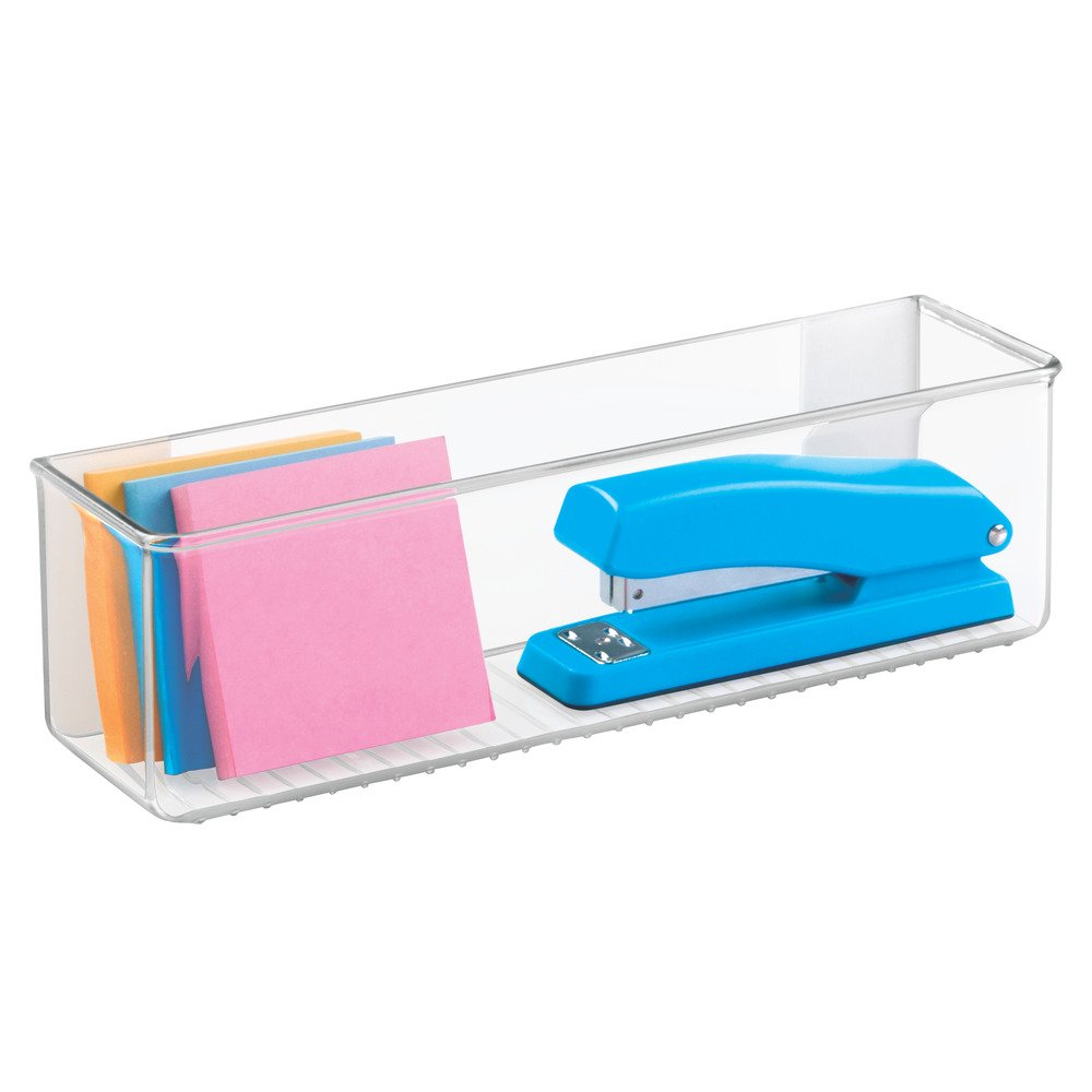 Office School Locker InterDesign 66120 AFFIXX Peel-and-Stick Linus Organizer for Kitchen Bathroom 3.5 X 8 X 5.5 Clear