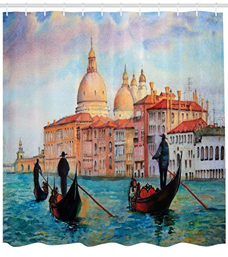Ambesonne Venice Shower Curtain, Watercolor Painting of Venice Serene Cityscape Antique Gondolas Scenic, Cloth Fabric Bathroom Decor Set with Hooks, 70