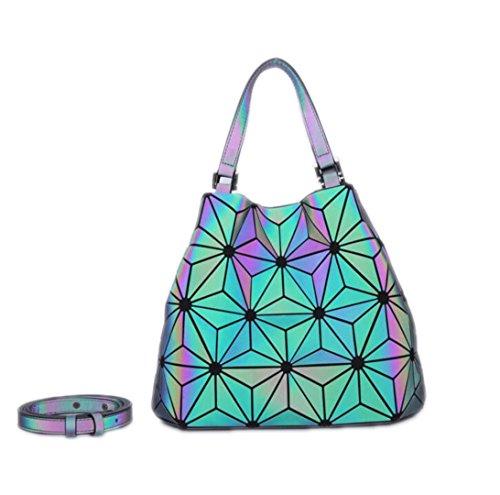 Bolso de Bao luminoso de las mujeres Bolso de Geometry del totalizador del diamante Bolsos de hombro acolchados del laser bolsos plegables llanos Luminous small B Luminous Big A