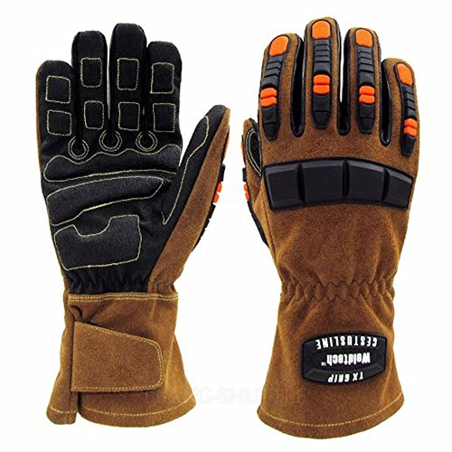 Animal Handling TX Grip Leather Gloves Protect From Dog C...