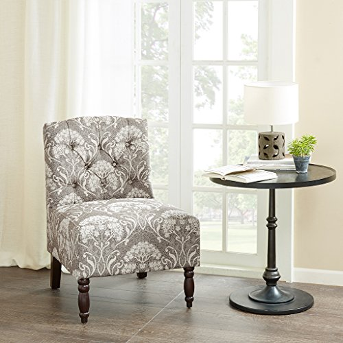 Madison Park Lola Tufted Armless Chair Taupe 23W x 2725D x 325H (Armless Chair Designer Fabric)