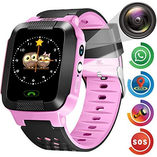 Kids Smart Phone Watch - Kids GPS Tracker Smartwatch for Girls Boys with Mobile Phone SOS Anti-Lost Camera Game Touch Screen Children Outdoor Digital Wrist Watch Bracelet New Year Birthday Gift -