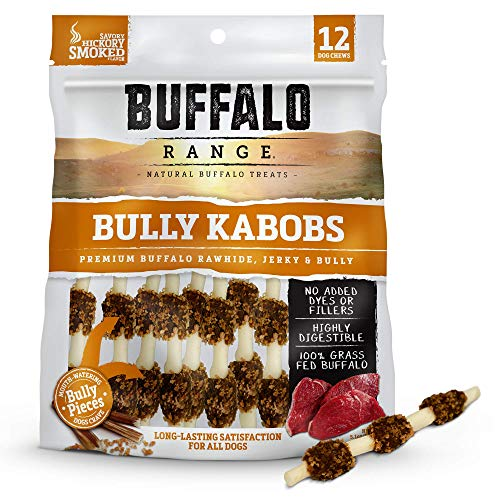 Buffalo Ranges - Buffalo Range Rawhide Dog Treats | Healthy, Grass-Fed Buffalo Jerky Raw Hide Chews | Hickory Smoked Flavor | Jerky Kabob with Bullypiece | 12Count