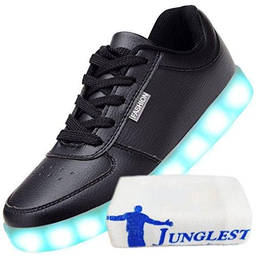 [Present:small towel]JUNGLEST Womens USB Charging LED Sport Shoes Black pLWZdo