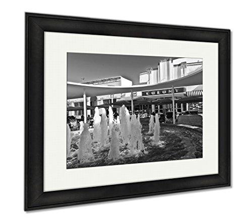 Ashley Framed Prints Art Deco Theater In Miami, Modern Room Accent Piece, Black/White, 34x40 (frame size), Black Frame, - Lincoln Miami Street