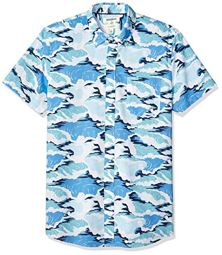 (Goodthreads Men's Slim-Fit Short-Sleeve Printed Poplin Shirt, Wave, Medium Tall)